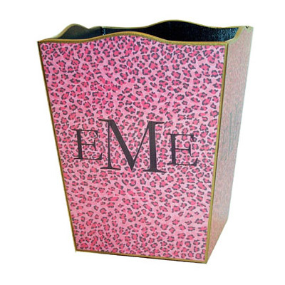 Pink Leopard Decoupage Wastebasket